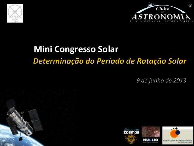 Prof. Álvaro FolhasMini Congresso Solar