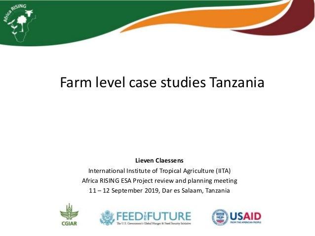 Farm level case studies Tanzania Lieven Claessens International Institute of Tropical Agriculture (IITA) Africa RISING ESA...