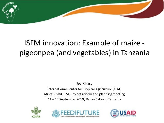 ISFM innovation: Example of maize - pigeonpea (and vegetables) in Tanzania Job Kihara International Center for Tropical Ag...