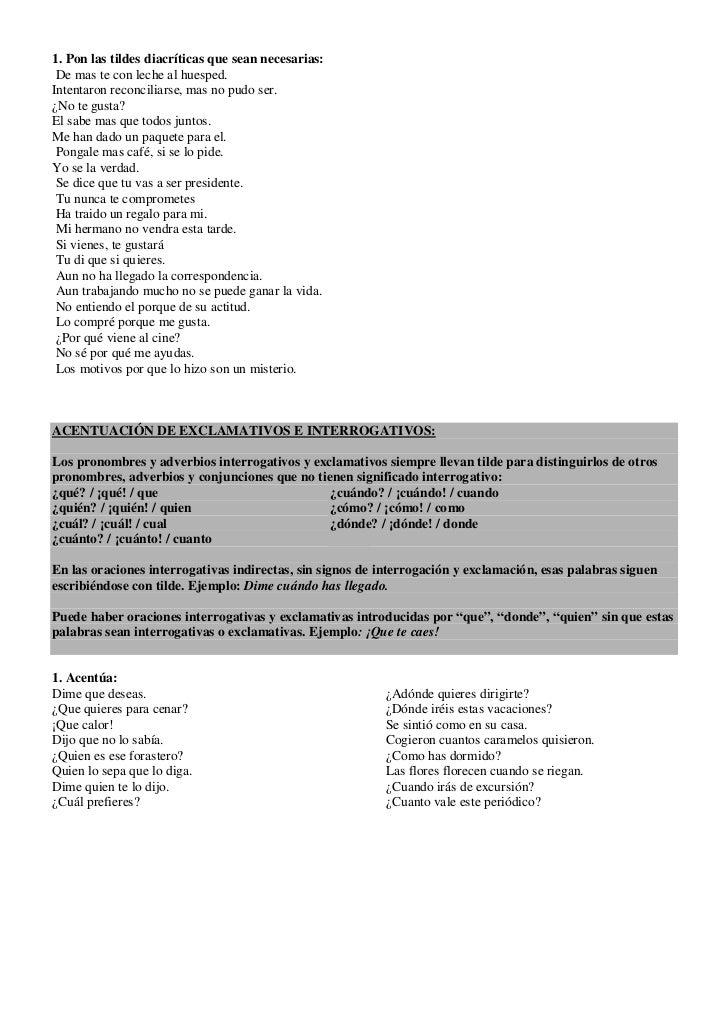 Ejercicios De Acentuacion Para Imprimir