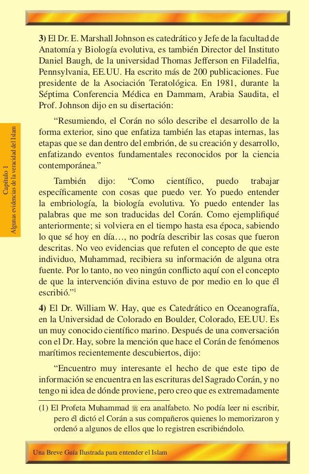 34 Capítulo1 AlgunasevidenciasdelaveracidaddelIslam 3) El Dr. E. Marshall Johnson es catedrático y Jefe de la facultad de ...
