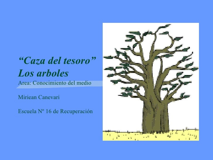 """"""" Caza del tesoro"""" Los arboles Area: Conocimiento del medio Miriean Canevari Escuela Nº 16 de Recuperación"""