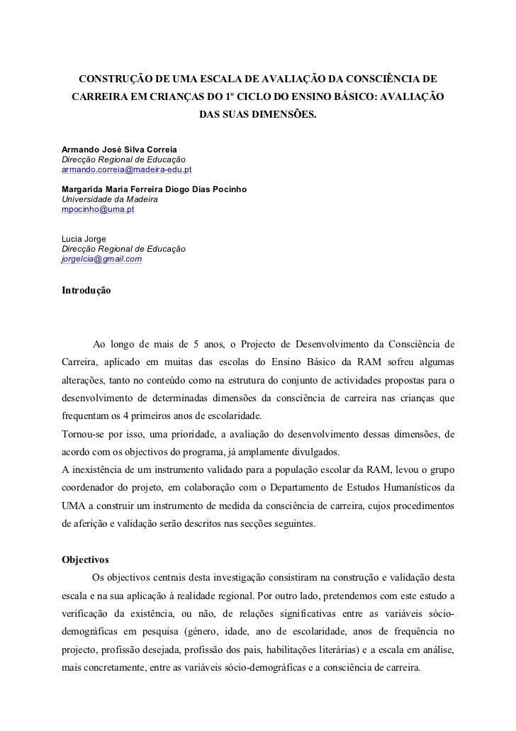 CONSTRUÇÃO DE UMA ESCALA DE AVALIAÇÃO DA CONSCIÊNCIA DE  CARREIRA EM CRIANÇAS DO 1º CICLO DO ENSINO BÁSICO: AVALIAÇÃO     ...