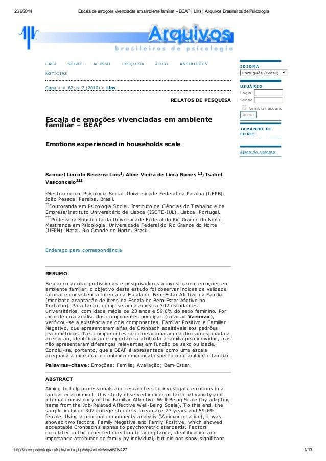 23/6/2014 Escala de emoções vivenciadas em ambiente familiar – BEAF | Lins | Arquivos Brasileiros de Psicologia http://see...