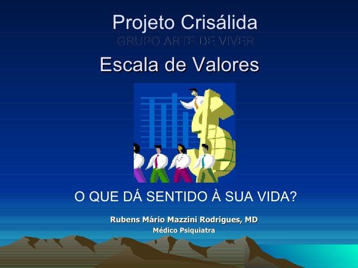 Escala de Valores O QUE DÁ SENTIDO À SUA VIDA? Rubens Mário Mazzini Rodrigues, MD Médico Psiquiatra Projeto Crisálida GRUP...