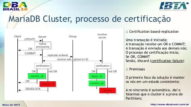 MariaDB Cluster, flow control • O Flow Control é ativado sempre que o cluster recebe mais transações do que suporta; • Ger...