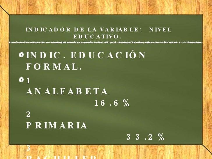 INDICADOR DE LA VARIABLE: NIVEL EDUCATIVO.  <ul><li>INDIC. EDUCACIÓN FORMAL. </li></ul><ul><li>1 ANALFABETA...