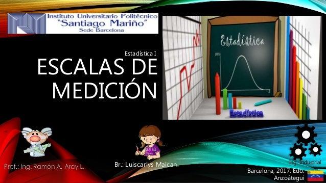 ESCALAS DE MEDICIÓN Br.: Luiscarlys Maican. Ing. Industrial Barcelona, 2017. Edo. Anzoátegui Estadística I