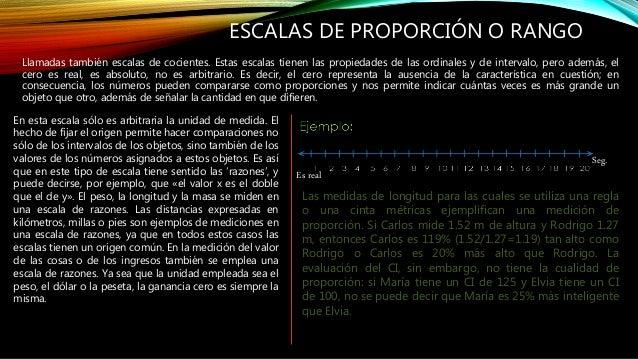 ESCALAS DE PROPORCIÓN O RANGO Llamadas también escalas de cocientes. Estas escalas tienen las propiedades de las ordinales...
