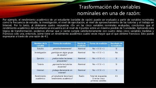 Por ejemplo, el rendimiento académico de un estudiante (variable de razón) puede ser evaluado a partir de variables nomina...