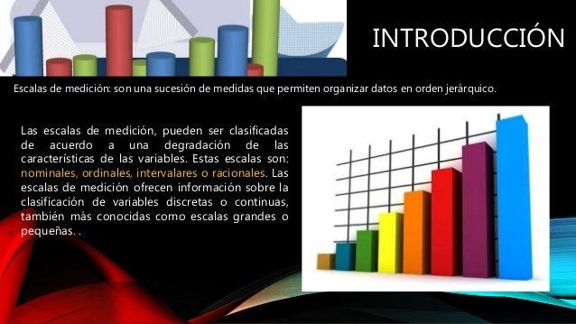 INTRODUCCIÓN Escalas de medición: son una sucesión de medidas que permiten organizar datos en orden jerárquico. Las escala...