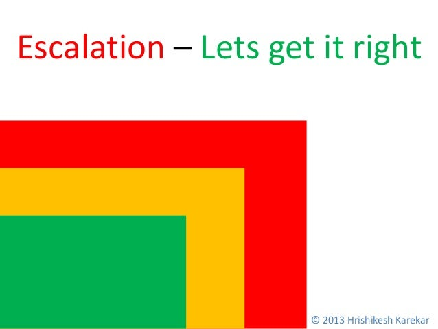 Escalation – Lets get it right © 2013 Hrishikesh Karekar