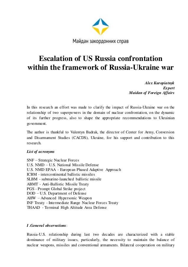 Escalation of US Russia confrontation within the framework of Russia-Ukraine war Alex Kuropiatnyk Expert Maidan of Foreign...