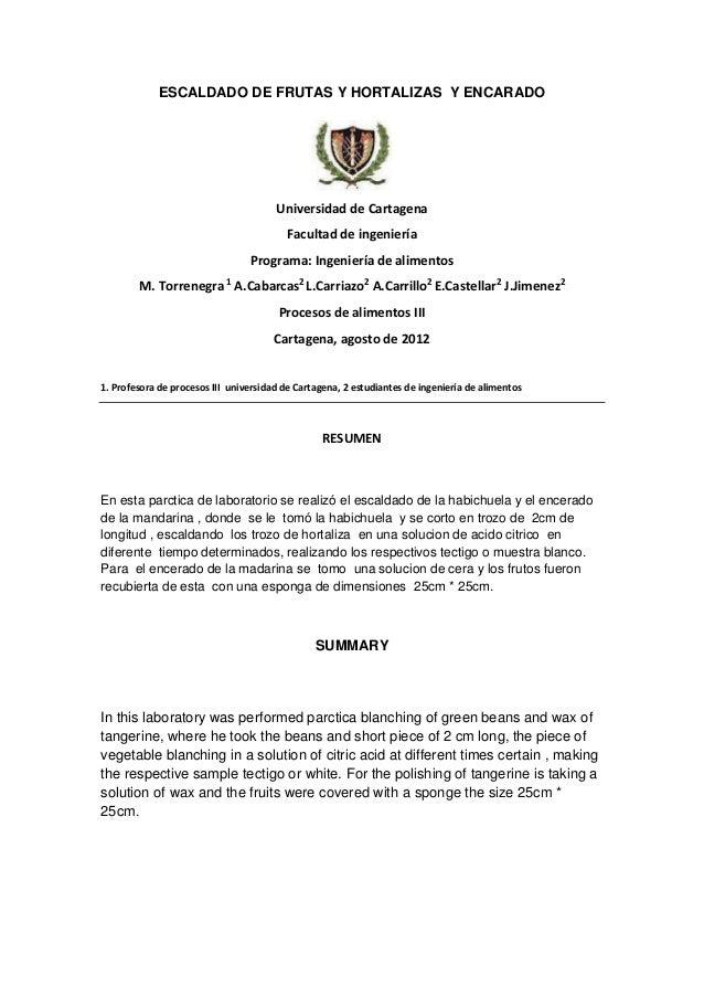ESCALDADO DE FRUTAS Y HORTALIZAS Y ENCARADO                                       Universidad de Cartagena                ...