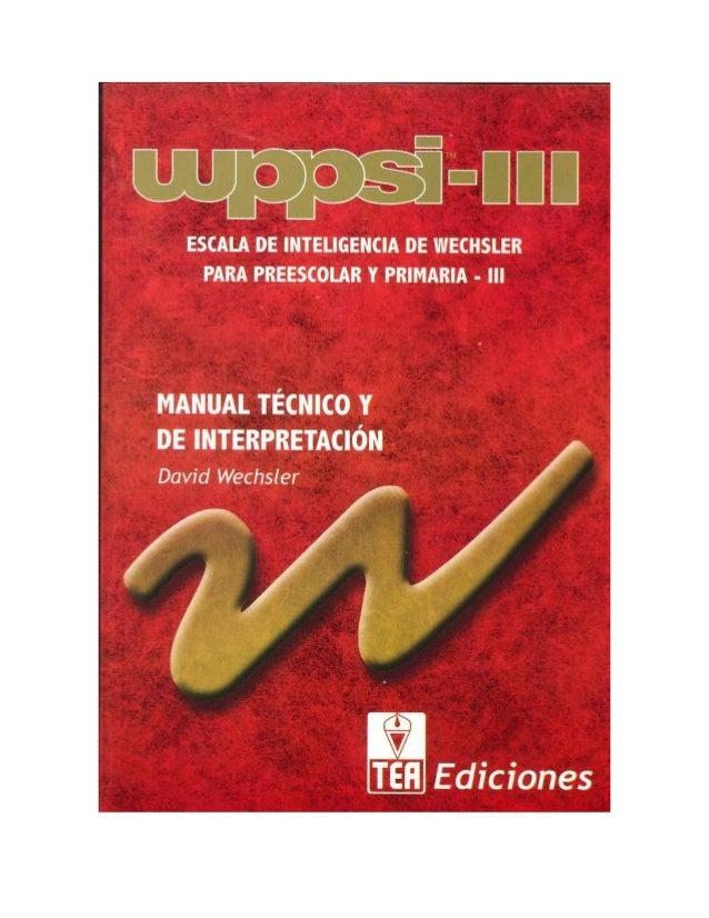 manual wppsi iii pdf gratis