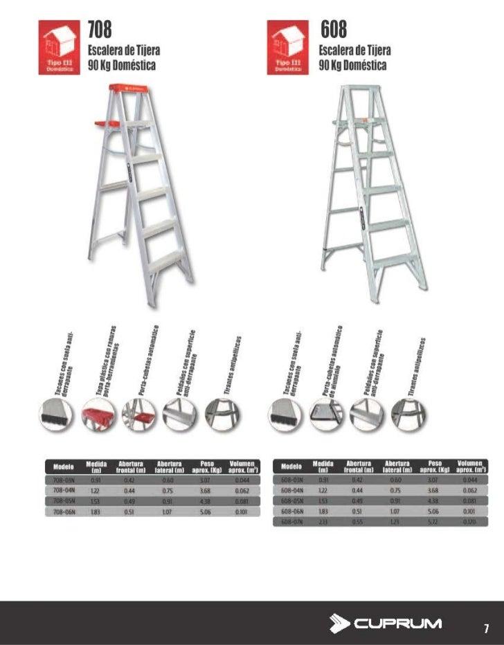 Escalera De Tijera De Aluminio Domestica Cuprum 708 Y 608