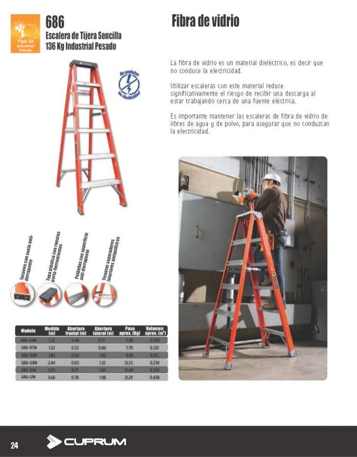 escalera de tijera sencilla 686 de fibra de vidrio cuprum
