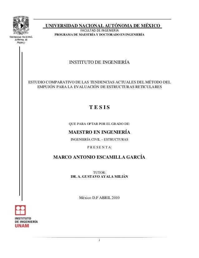i UNIVERSIDAD NACIONAL AUTÓNOMA DE MÉXICO PROGRAMA DE MAESTRÍA Y DOCTORADO EN INGENIERÍA INSTITUTO DE INGENIERÍA ESTUDIO C...
