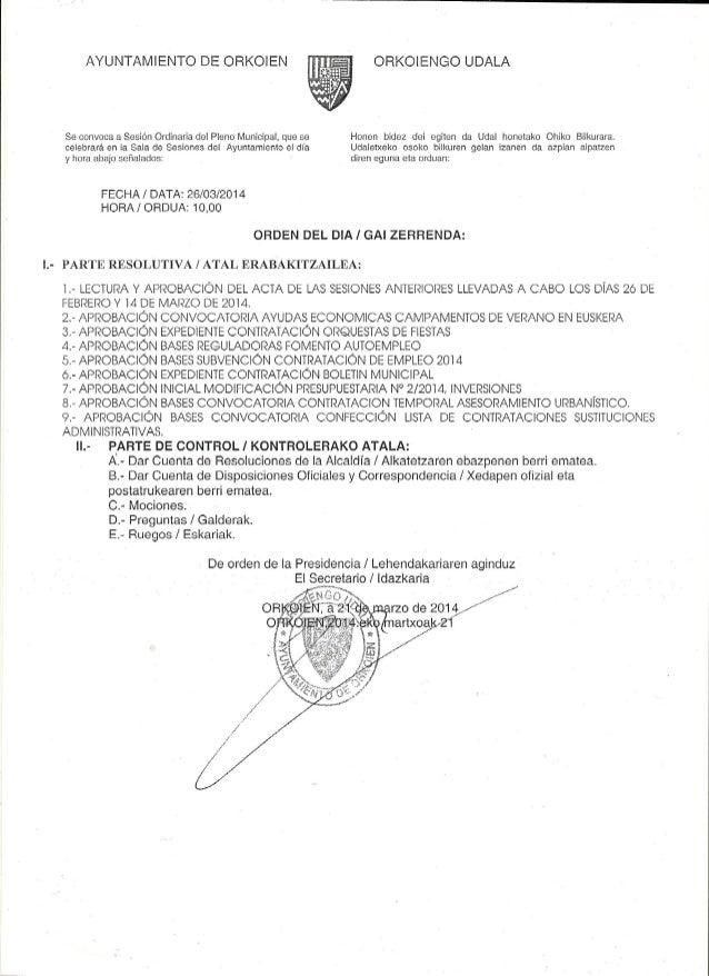 ORDEN DEL DIA DEL PLENO DE MARZO