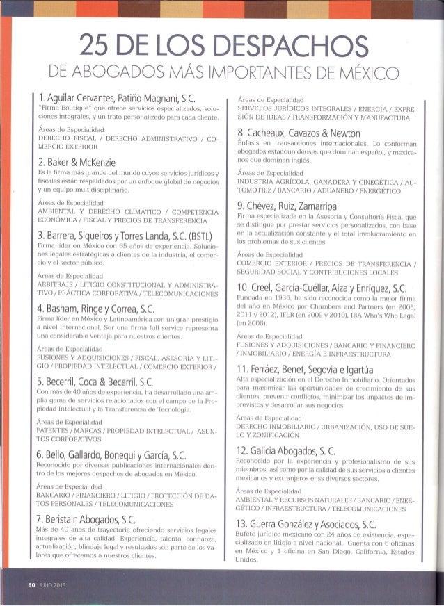 25 de los despachos de abogados más importantes de México