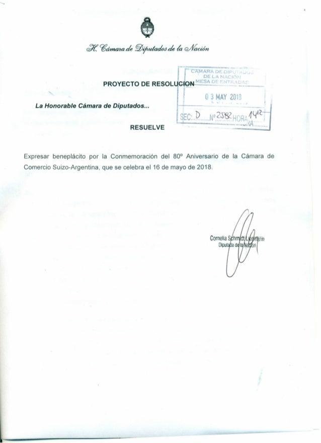 """IPROYECTO DE RESOLU'.bi*::fN-"""":':::'::~:""""- o 3 MAY 2013 La Honorable C�mara de Diputados ... SEc:P',N'?�~9""""R~~lfICI ...., ..."""