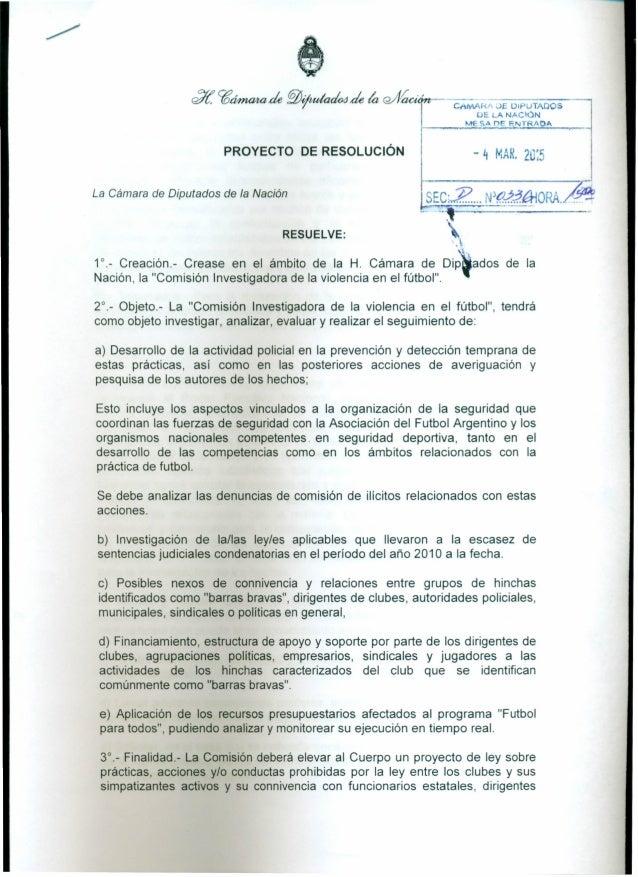 """CA/lllAR/ JE l.)IPUTADOS UE LA NACIÓN MESA I"""")E F.NT AOA PROYECTO DE RESOLUCiÓN La Cámara de Diputados de la Nación - 4 MA..."""