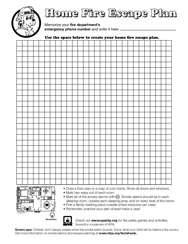 Sparky fire safety escape grid for Home fire safety plan