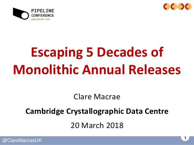 1 @ClareMacraeUK Escaping 5 Decades of Monolithic Annual Releases Clare Macrae Cambridge Crystallographic Data Centre 20 M...