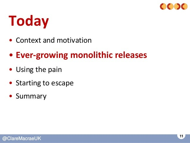 11 @ClareMacraeUK@ClareMacraeUK Today • Context and motivation • Ever-growing monolithic releases • Using the pain • Start...