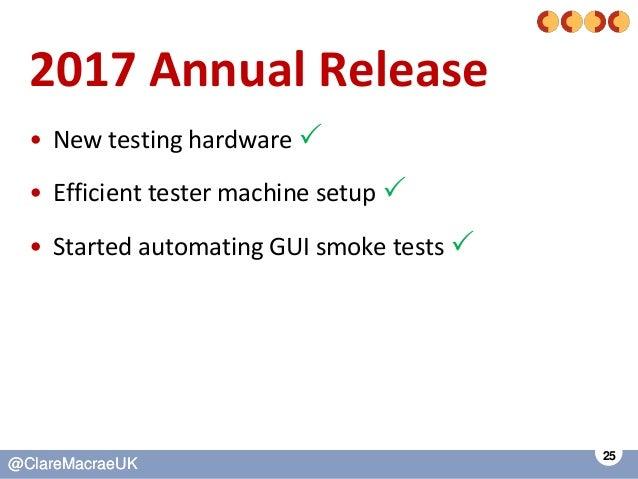 25 @ClareMacraeUK@ClareMacraeUK 2017 Annual Release • New testing hardware  • Efficient tester machine setup  • Started ...