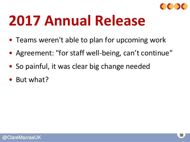 """32 @ClareMacraeUK@ClareMacraeUK 2017 Annual Release • Teams weren't able to plan for upcoming work • Agreement: """"for staff..."""