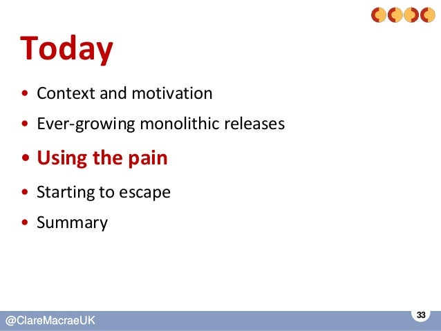 33 @ClareMacraeUK@ClareMacraeUK Today • Context and motivation • Ever-growing monolithic releases • Using the pain • Start...