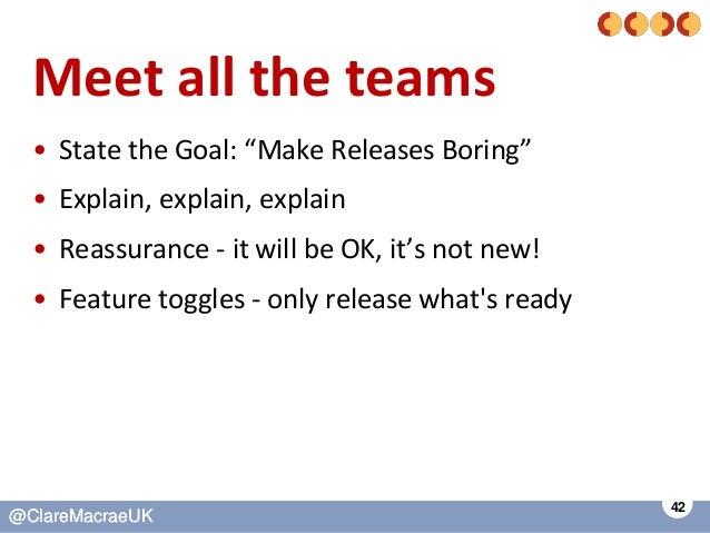 "42 @ClareMacraeUK@ClareMacraeUK Meet all the teams • State the Goal: ""Make Releases Boring"" • Explain, explain, explain • ..."