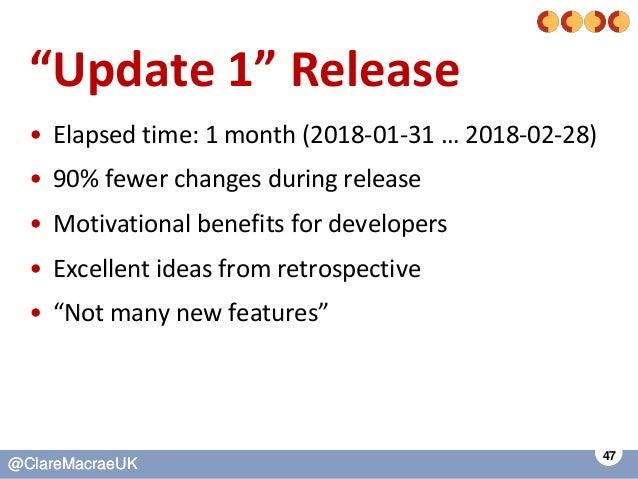 "47 @ClareMacraeUK@ClareMacraeUK ""Update 1"" Release • Elapsed time: 1 month (2018-01-31 … 2018-02-28) • 90% fewer changes d..."