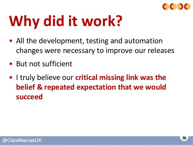 50 @ClareMacraeUK@ClareMacraeUK Why did it work? • All the development, testing and automation changes were necessary to i...