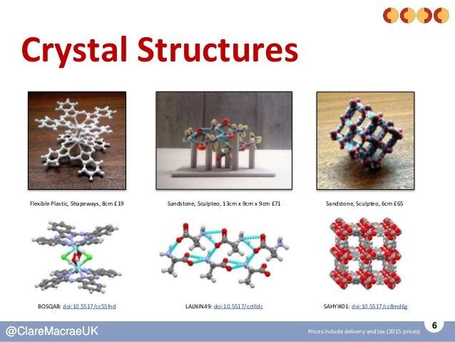 6 @ClareMacraeUK@ClareMacraeUK Crystal Structures Flexible Plastic, Shapeways, 8cm £19 BOSQAB: doi:10.5517/cc55fnd Sandsto...