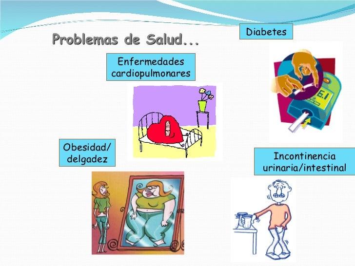 Diabetes Enfermedades cardiopulmonares Incontinencia urinaria/intestinal Obesidad/delgadez