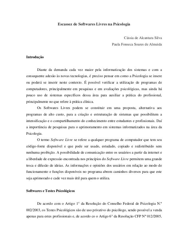 Escassez de softwares livres em psicologia 20130501104736