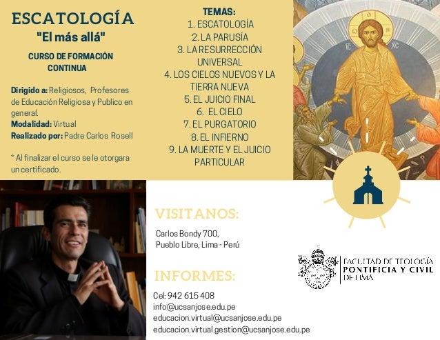SAN JOS� ESCATOLOG�A ������CURSODEFORMACI�N� ������������CONTINUA Dirigidoa:Religiosos,�Profesores deEducaci�nReligiosayPu...