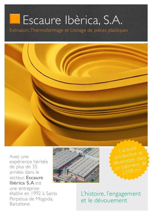 Escaure Ibèrica, S.A. Extrusion,Thermoformage et Usinage de pièces plastiques L'activité productive se développe dans un b...