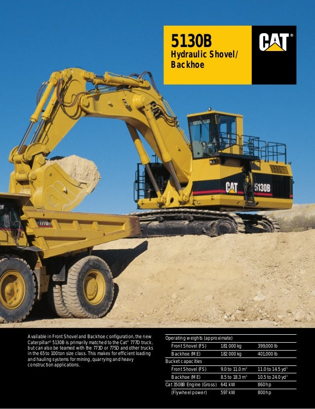 ®  5130B Hydraulic Shovel/ Backhoe  Available in Front Shovel and Backhoe configuration, the new Caterpillar® 5130B is pri...