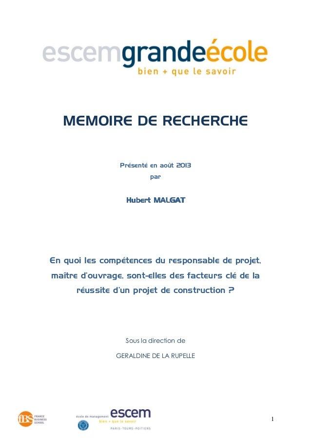 1 MEMOIRE DE RECHERCHE Présenté en août 2013 par Hubert MALGATHubert MALGATHubert MALGATHubert MALGAT En quoi les compéten...