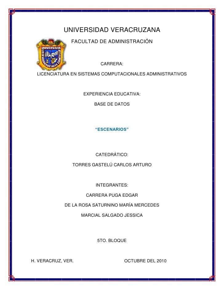 16764042418000UNIVERSIDAD VERACRUZANA<br />FACULTAD DE ADMINISTRACIÓN <br />CARRERA:<br />LICENCIATURA EN SISTEMAS COMPUTA...