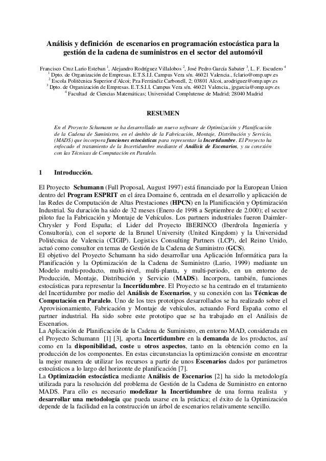 Análisis y definición de escenarios en programación estocástica para la        gestión de la cadena de suministros en el s...