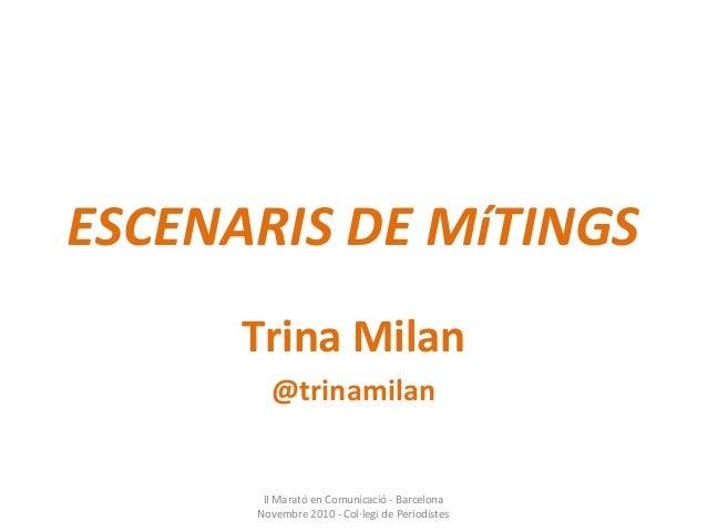 ESCENARIS DE MíTINGS Trina Milan @trinamilan II Marató en Comunicació - Barcelona Novembre 2010 - Col·legi de Periodistes