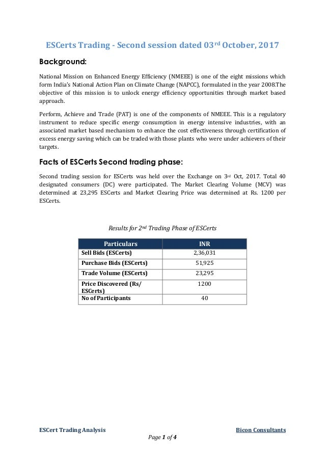 ESCert Trading Analysis Bicon Consultants Page 1 of 4 ESCerts Trading - Second session dated 03rd October, 2017 Background...