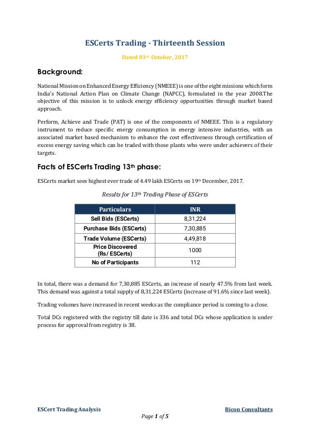 ESCert Trading Analysis Bicon Consultants Page 1 of 5 ESCerts Trading - Thirteenth Session Dated 03rd October, 2017 Backgr...