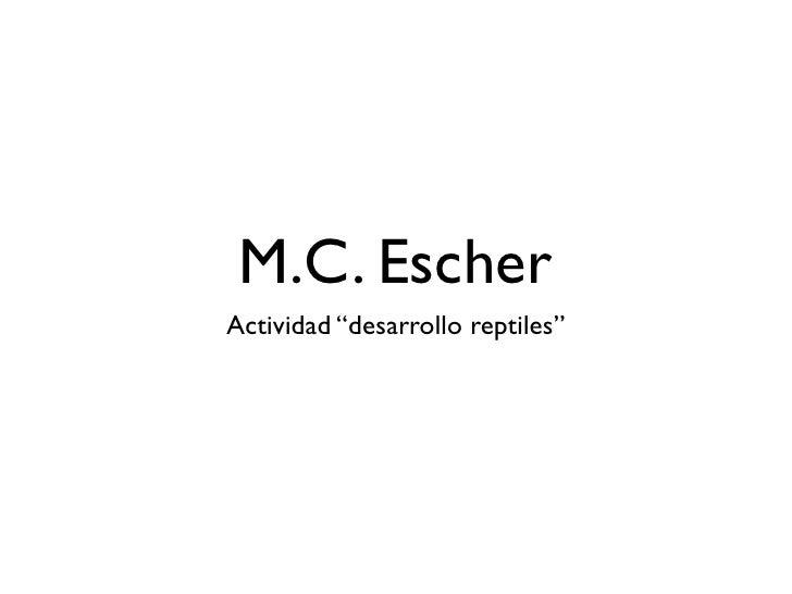 """M.C. Escher Actividad """"desarrollo reptiles"""""""