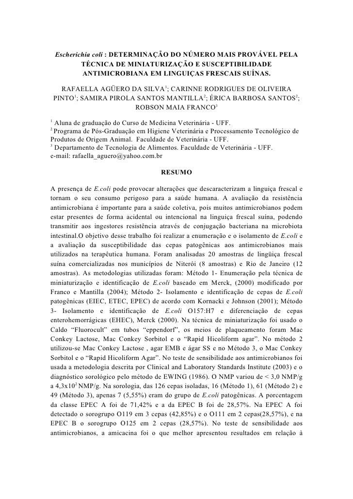 Escherichia coli : DETERMINAÇÃO DO NÚMERO MAIS PROVÁVEL PELA             TÉCNICA DE MINIATURIZAÇÃO E SUSCEPTIBILIDADE     ...