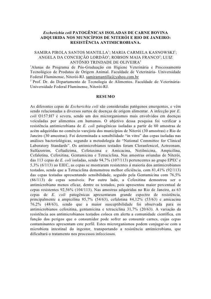 Escherichia coli PATOGÊNICAS ISOLADAS DE CARNE BOVINA      ADQUIRIDA NOS MUNICÍPIOS DE NITERÓI E RIO DE JANEIRO:          ...